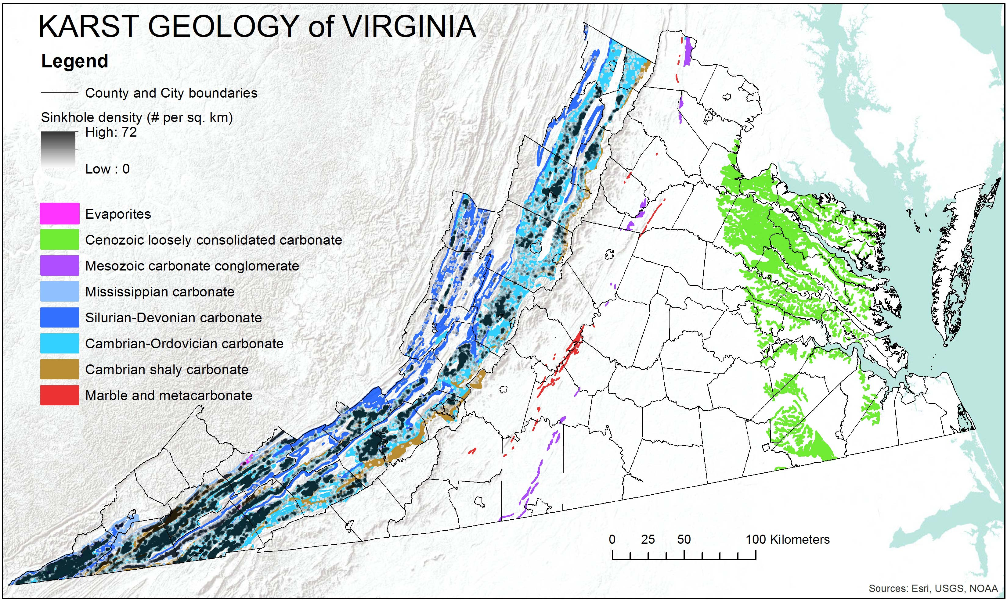 Karst Program - Counties of va map