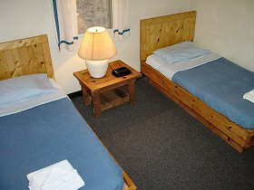 A typical 2-single-bed bedroom.
