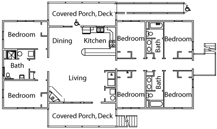 Typical six-bedroom cabin