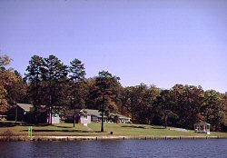 Nestled in the woods, Cedar Crest overlooks a picturesque lake.
